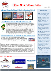 March 2016 DYC Newsletter Published